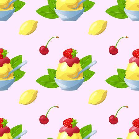 Traditional Japanese dessert kakigori. Ice chips with cherry, green tea, mint and lemon syrup. Vector flat seamless pattern Illustration