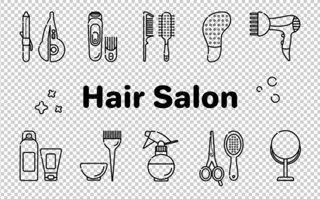 Icons for barber shop. Tools for the master in the beauty salon. Comb for hair, hair dryer, scissors, shampoo. Vector set of flat icons in linear style. Isolated objects on a transparent background. Ilustración de vector
