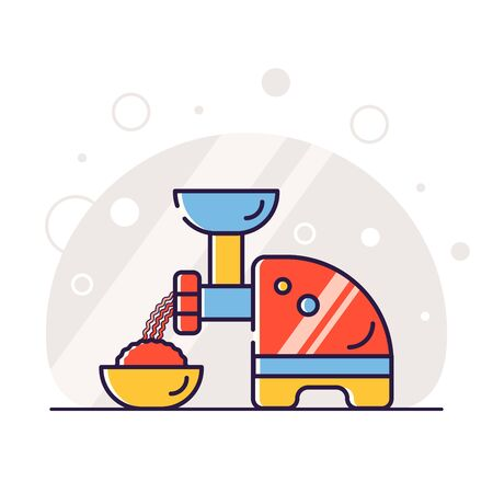 Kitchen electric appliances for cooking. The process of cooking stuffing. Meat grinder at work. Vector flat illustration in linear style.