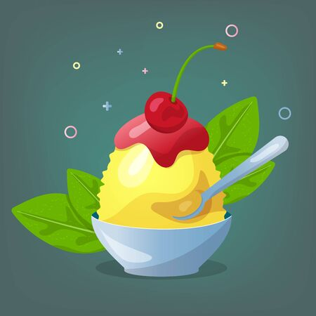 Traditional Japanese dessert kakigori. Ice chips with cherry and lemon syrup. Vector flat illustration.