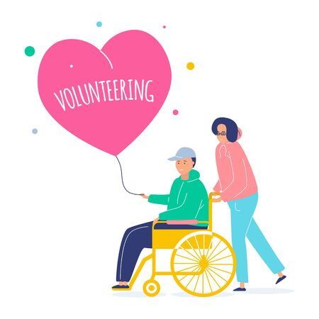 A volunteer helps a man in a wheelchair. Helping hand and heart. Vector flat illustration on white background with botanical elements.