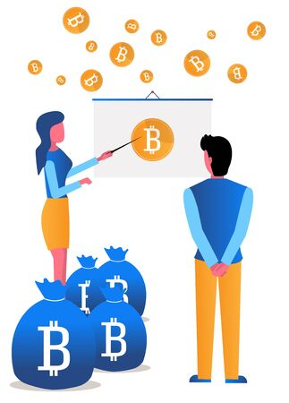 The girl analyzes the growth of crypto currency bitcoin. A lot of coins. Vector flat illustration in modern style, cartoon on white background Vettoriali