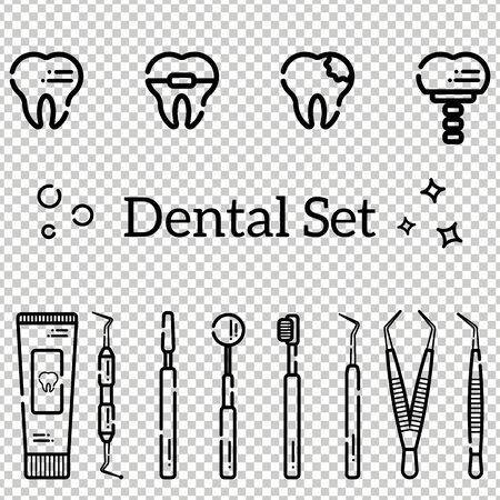 Vector set of flat dental tools and teeth with caries, braces and an implant. Isolated objects on transparent background in a line art style. Illustration