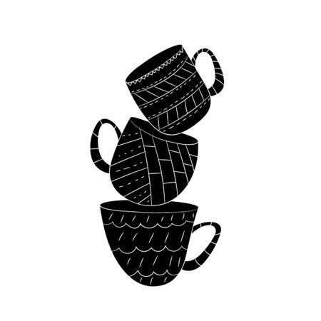 Vector set of cups of tea, coffee, milk to draw hands in Scandinavian style. Isolated monochrome objects.