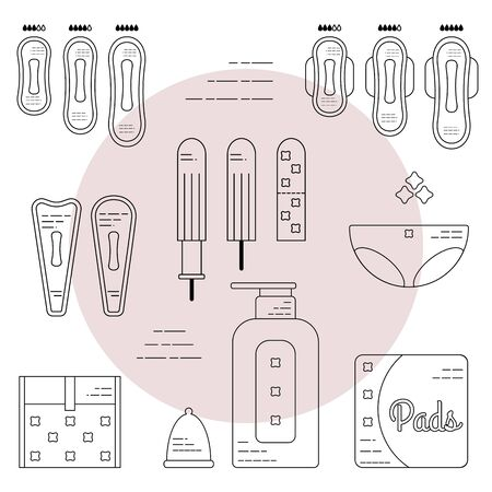 Female hygiene products. Gaskets, tampons, menstrual bowl and briefs. Isolated flat icons and objects. Vettoriali
