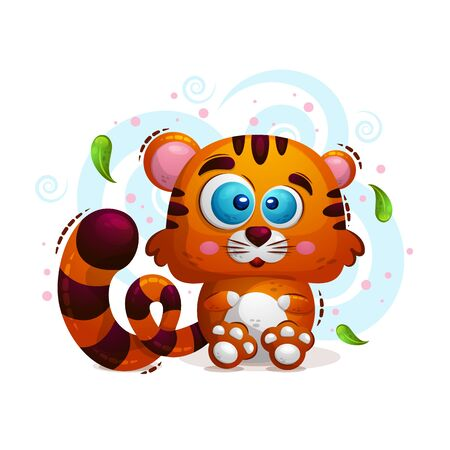 Vector cute illustration of an animal tiger in the style of a cartoon on a white background. A child s character. Print for clothing, book covers