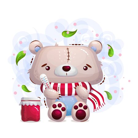Cute sick teddy bear in a scarf and a can of jam. Vector dessert illustration on a children's background in the style of a cartoon.