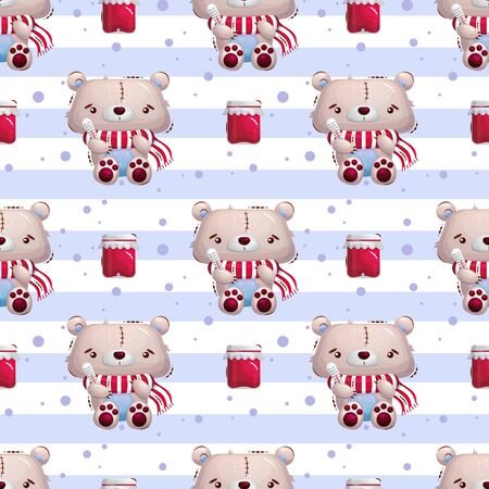 Cute sick teddy bear toy with a thermometer and in a scarf. A jar of jam and a striped background. Vector seamless pattern for textiles, wallpaper or wrapping paper.