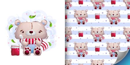 Set of illustration of cute sick teddy bear in a scarf and seamless pattern. Vector child illustration on a white background in the style of a cartoon Ilustração
