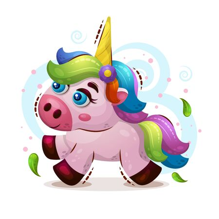 Vector cute illustration of an magic animal unicorn in the style of a cartoon on a white background. A child s character. Print for clothing, book cover,
