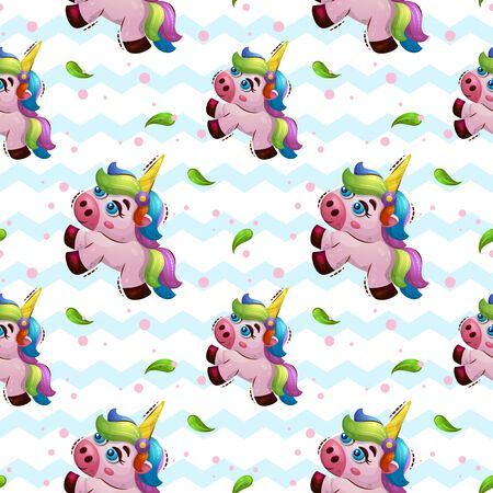 Vector seamless pattern with sweet magic animal unicorn in cartoon style. Kids print for wallpapers. wrappint or textile
