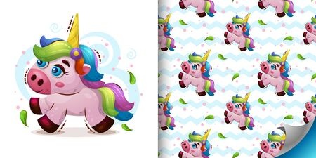 Set of Vector seamless pattern with sweet magic animal unicorn in cartoon style and sweet baby illustration Kids print for wallpapers. wrapping or textile. Illustration