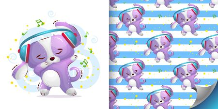 The cute dog dances in headphones and shows a gesture of dab. Vector seamless pattern and sweet illustration