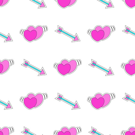 Seamless pattern with hearts and arrows. Style of 80s-90s.