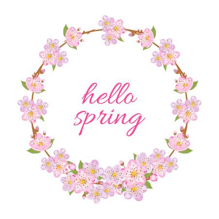 Hello spring card with decorative sakura frame. Vector illustration