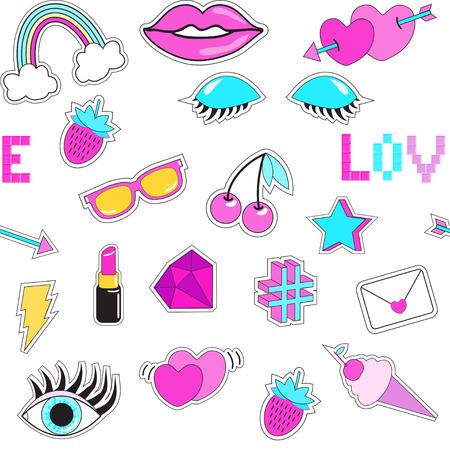 diamong: Seamless pattern with fashion patch badges. Eye, sunglasses, lips, ice-cream, phrase Love, hearts, rainbow, lipstick, arrow, star, lightning, strawberry, cherry, diamond. Style of 80s-90s.