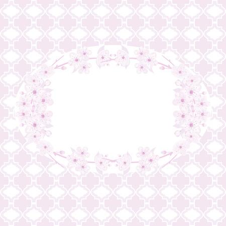Card template with sakura blossom.Vector illustration. Illustration