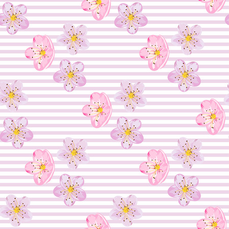 Seamless sakura blossom pattern on a stripe background. Japanise background. Vector illustration.