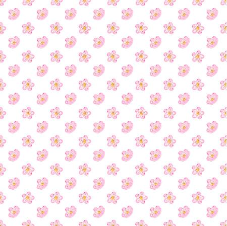 Seamless sakura blossom pattern on a white background. Japanise background. Vector illustration. Illustration