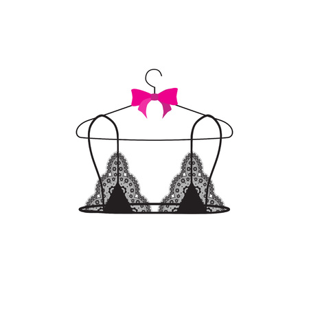 Lace bralette on hanger. Vector illustration. Vectores