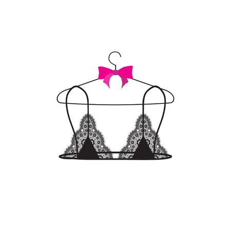 Lace bralette on hanger. Vector illustration. Stock Illustratie
