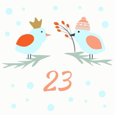 Advent calendar. Christmas calendar. Vector illustration. Countdown to Christmas 23 Illustration