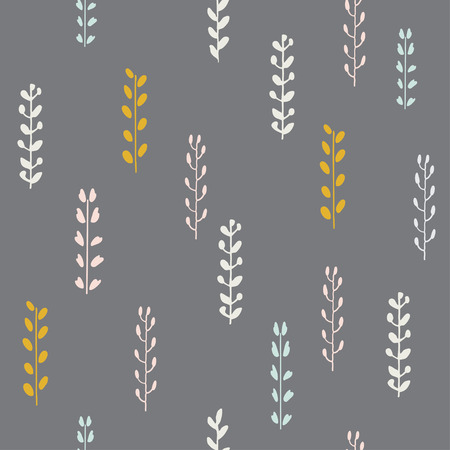 Hand drawn autumn seamless pattern. Vector illustration. Hand drawn floral elements. Vintage autumn colors. Can be used for wallpaper, background, surface textures, fabric, packaging.
