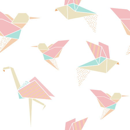 Origami birds seamless pattern. Japanese origami background. Geometrical style. Vector illustration. Stock Vector - 71109018
