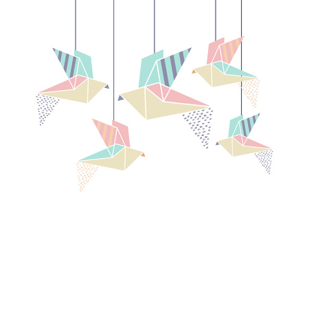 folded paper: Origami Birds card template with space for text. Vector Illustration. Indoor flight.
