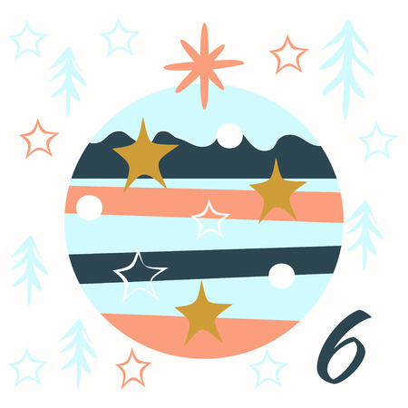 Advent calendar. Christmas calendar. Vector illustration. Countdown to Christmas 6 Illustration