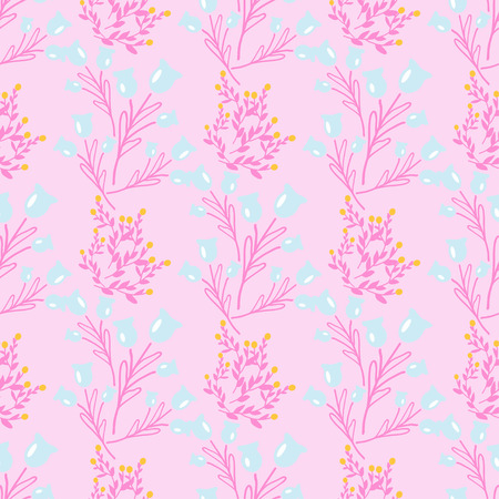 Seamless background with wild flowers. Vector pattern with wild summer flowers. Illustration