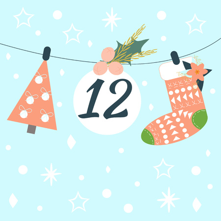 Advent calendar. Christmas calendar. Vector illustration. Countdown to Christmas 12