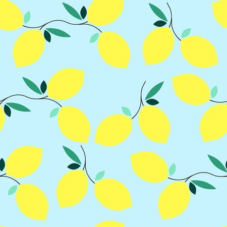 Summer seamless lemon pattern. Design element for wallpapers, baby shower invitation, birthday card, scrapbooking, fabric print etc. Vector illustration.