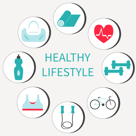 Healthy lifestyle, fitness  and sport colorful icons set. Illustration
