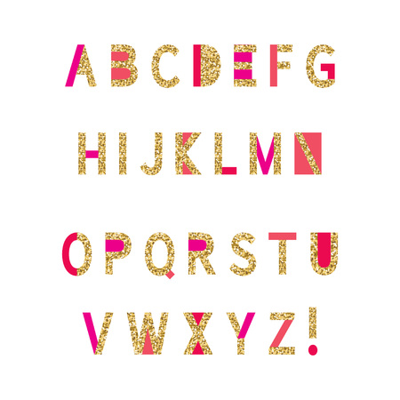 Pink, red, coral and gold glitter alphabet on white background. Perfect for wedding invitations, bridal showers, birthday cards, etc.