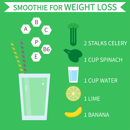 Green smoothie for weight loss. Illustration of healthy smoothie recipe with ingredients. Can be used as menu element for cafe or restaurant.