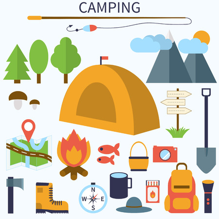 Set of camping and outdoor symbols and icons.  Colorful camping icons. Illustration
