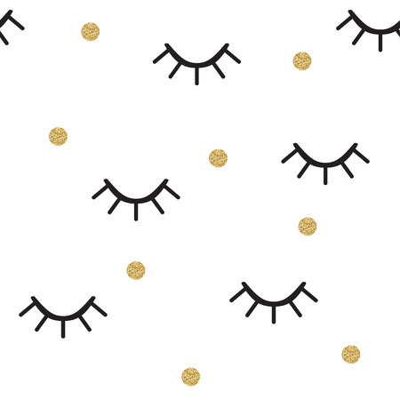 Abstract seamless pattern with winking eyes and gold polka dots.  Eyelashes trendy background. Vector illustration. Illustration