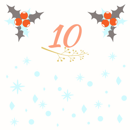 Advent calendar. Christmas calendar. Vector illustration. Countdown to Christmas 10