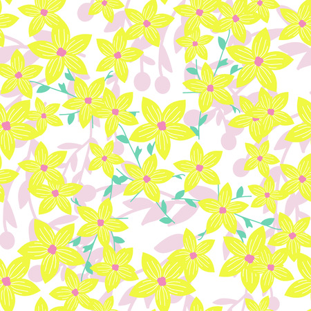 Seamless background with wild flowers. Vector pattern with wild summer flowers. Yellow, green, pink colors.