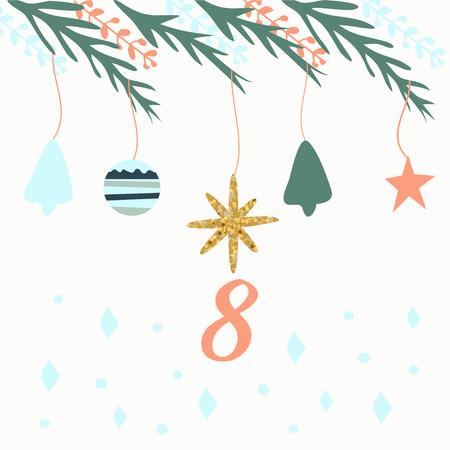 Advent calendar. Christmas calendar. Vector illustration. Countdown to Christmas 8 Stock Vector - 71109832