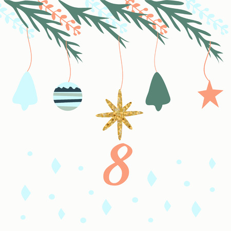 Advent calendar. Christmas calendar. Vector illustration. Countdown to Christmas 8