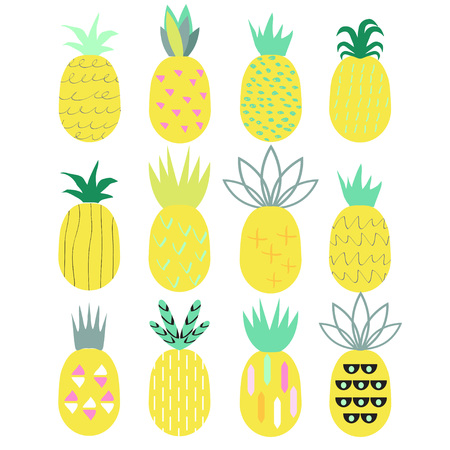 Pineapples set. 80-90s fashion style. Vector illustration.