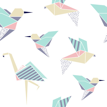 Origami birds seamless pattern. Japanese origami background. Geometrical style. Vector illustration.