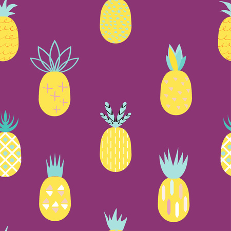Pineapple colorful seamless pattern.  Retro vintage 80s- 90s  memphis pineapple fruit seamless pattern background. Summer geometric creative pineapple background.  Ideal for fabric design, paper print and web backdrop. Stock Vector - 71109604