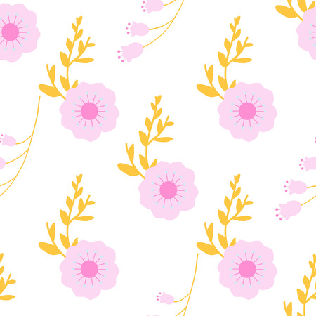Seamless background with cute flowers. Vector pattern with summer flowers.