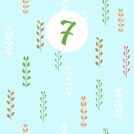 Advent calendar. Christmas calendar. Vector illustration. Countdown to Christmas 7 Illustration