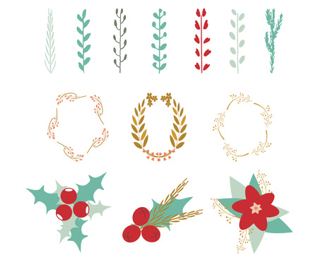 Christmas decor elements: branches, leaves, flowers, berries, wreaths. Vector illustration. Can be used for greeting cards, scrapbooking, congratulations, invitations, banner, stickers and tags.