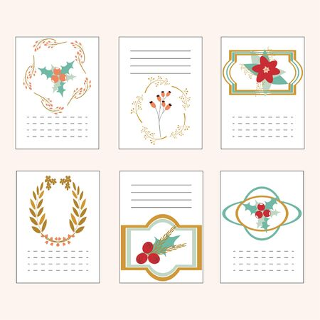 Set of hand drawn vector holiday cards. Vintage collection with template cards. Party printable cards. Can be used for invitations, flyers, wallpaper, background, congratulations, thank you cards, tags.