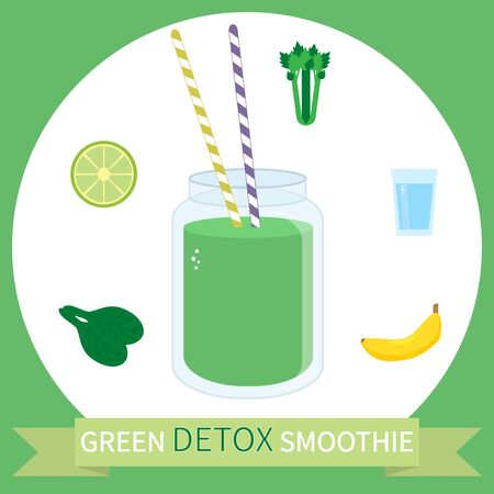 Illustration of healthy detox smoothie recipe with ingredients. Can be used as menu element for cafe or restaurant. Illustration